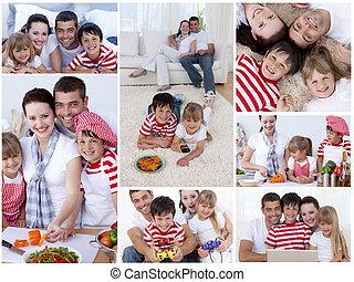 collage, van, een, gezin, het genieten van, momenten, samen