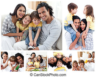 collage, van, een, gezin, het genieten van, momenten, samen, thuis