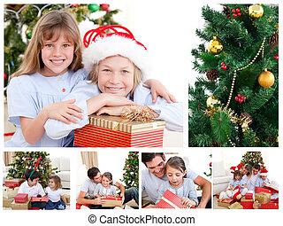 collage, van, een, gezin, vierende kerstmis