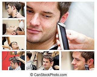 collage, van, een, jonge man, op, de, kapper