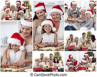 collage, van, families, het genieten van, viering, momenten, samen, thuis