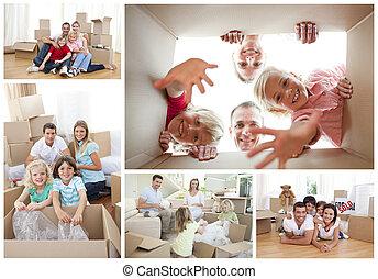 collage, van, families
