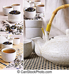 collage, van, foto's, met, zwarte thee