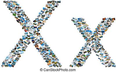 collage, van, foto's, vormen, engelse , alfabet