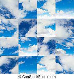 collage, van, fragmenten, op, blauwe , sky.