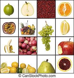 collage, van, fruit