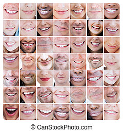 collage, van, gevarieerd, glimlachen