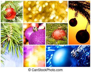 collage, van, gevarieerd, kerst decoraties