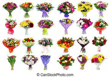 collage, van, gevarieerd, kleurrijke, bloem, set, van, boeketten, vrijstaand, op