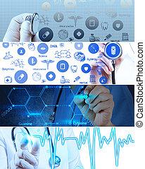 collage, van, gevarieerd, moderne, medisch, en, helath, care, concept