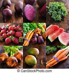 collage, van, gevarieerd, vruchten, en, veget