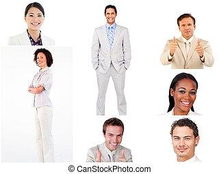 collage, van, het glimlachen, zakenlui
