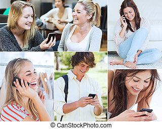 collage, van, mensen, gebruik, hun, mobil
