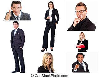 collage, van, modieus, zakenlui