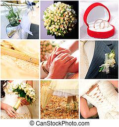 collage, van, negen, trouwfeest, foto's
