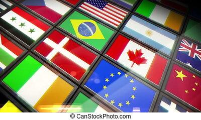 collage, van, schermen, het tonen, vlaggen