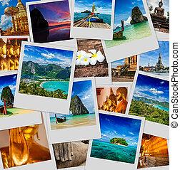 collage, van, thailand, beelden