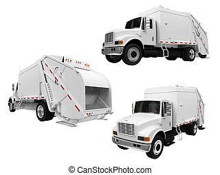 collage, van, vrijstaand, de vrachtwagen van de stortplaats