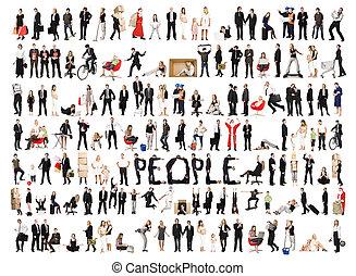 collage, van, vrijstaand, mensen