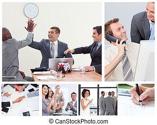 collage, van, vrolijke , zakenlui