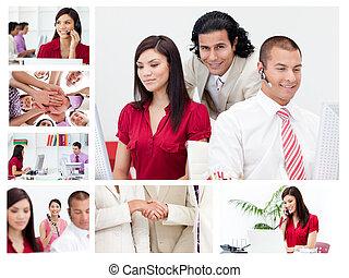 collage, van, werkende , zakenlui