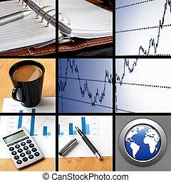 collage, van, zakelijk, of, financiën