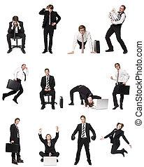 collage, van, zakenlieden
