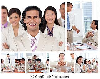 collage, van, zakenlui, aan het werk aaneen