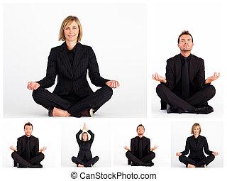 collage, van, zakenlui, beoefenen, yoga