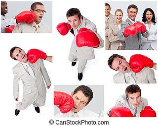 collage, van, zakenlui, boxing
