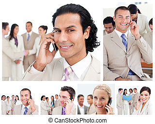 collage, van, zakenlui, gebruik, telefoons