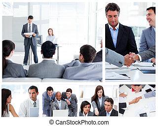 collage, van, zakenlui, het communiceren