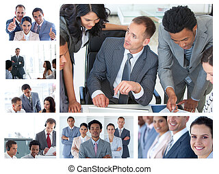 collage, van, zakenlui, op het werk