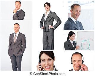 collage, van, zakenlui, portretten