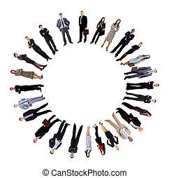 collage, van, zakenlui, staand, ongeveer, een, lege, cirkel
