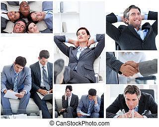 collage, van, zakenlui