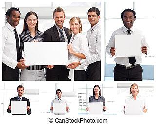 collage, van, zakenlui, vasthouden, tekens & borden