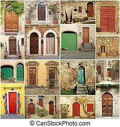 collage, vani porta, italiano