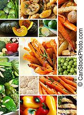 collage, vegetales