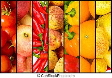 collage, velen, groentes, vruchten