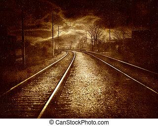 collage, vendimia, ferrocarril, -, viejo