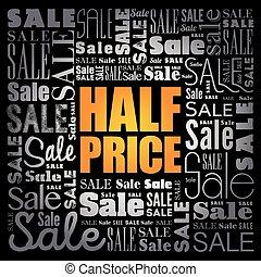 collage, venta, palabra, nube, precio, mitad