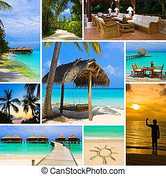 collage, verano, imágenes, maldivas, playa