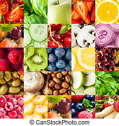 collage, verdura, frutta, fondo, colorito