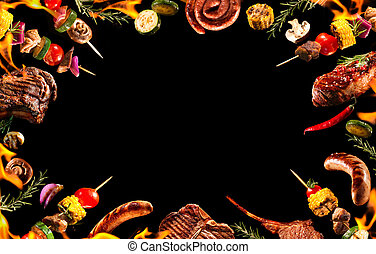 collage, verduras asadas parrilla, vario, carne