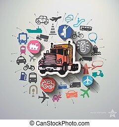 collage, vervoer, achtergrond, iconen