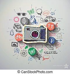 collage, viaggiare, fondo, icone
