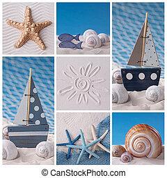 collage, vida, marina