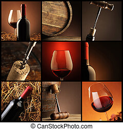 collage, vino