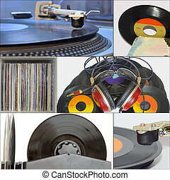 Collage vinyl records, stereo headset and turntable